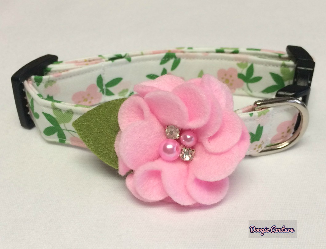 Life In Full Bloom Pink Floral Dog Collar Size Xs Through Large By